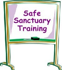 "Chalk board image with ""safe sanctuary training"" on it"